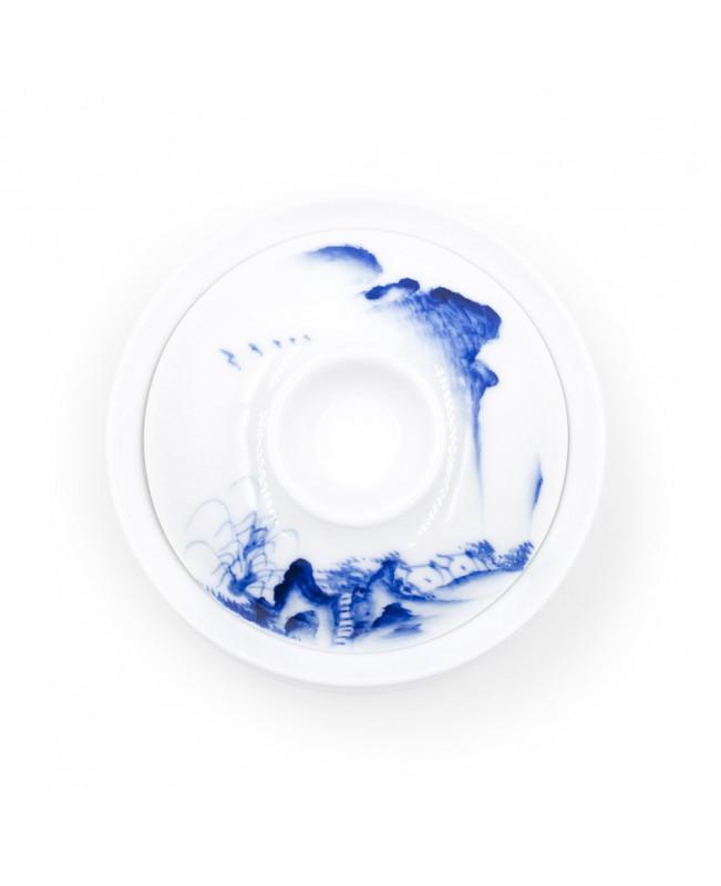 Гайвань Пейзаж белая, фарфоровая
