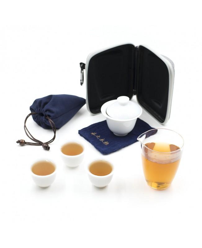 Походный чайный набор с гайванью и 3 пиалами, фарфор-стекло