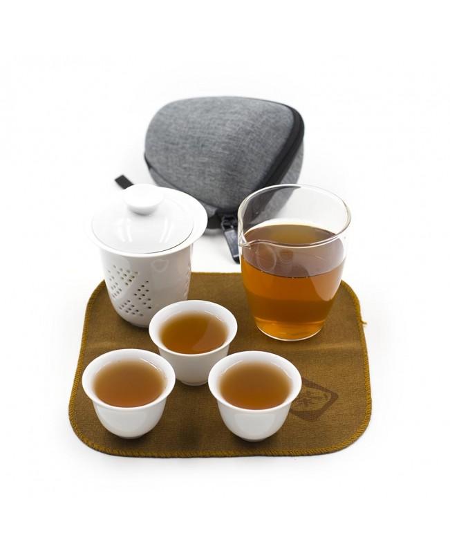 Дорожный чайный набор с 3 пиалами, фарфор-стекло